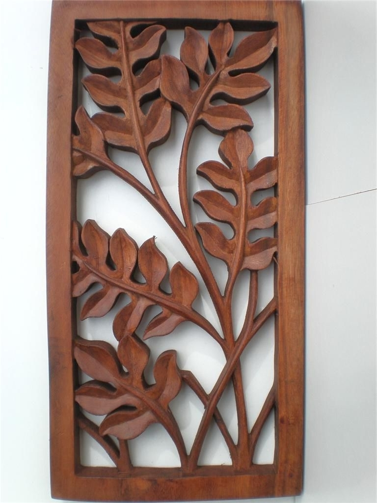 Bali Leaf Wood Carved Wall Art Hanging Relief Carving Balinese 40Cm With Regard To Latest Wood Carved Wall Art (View 3 of 20)