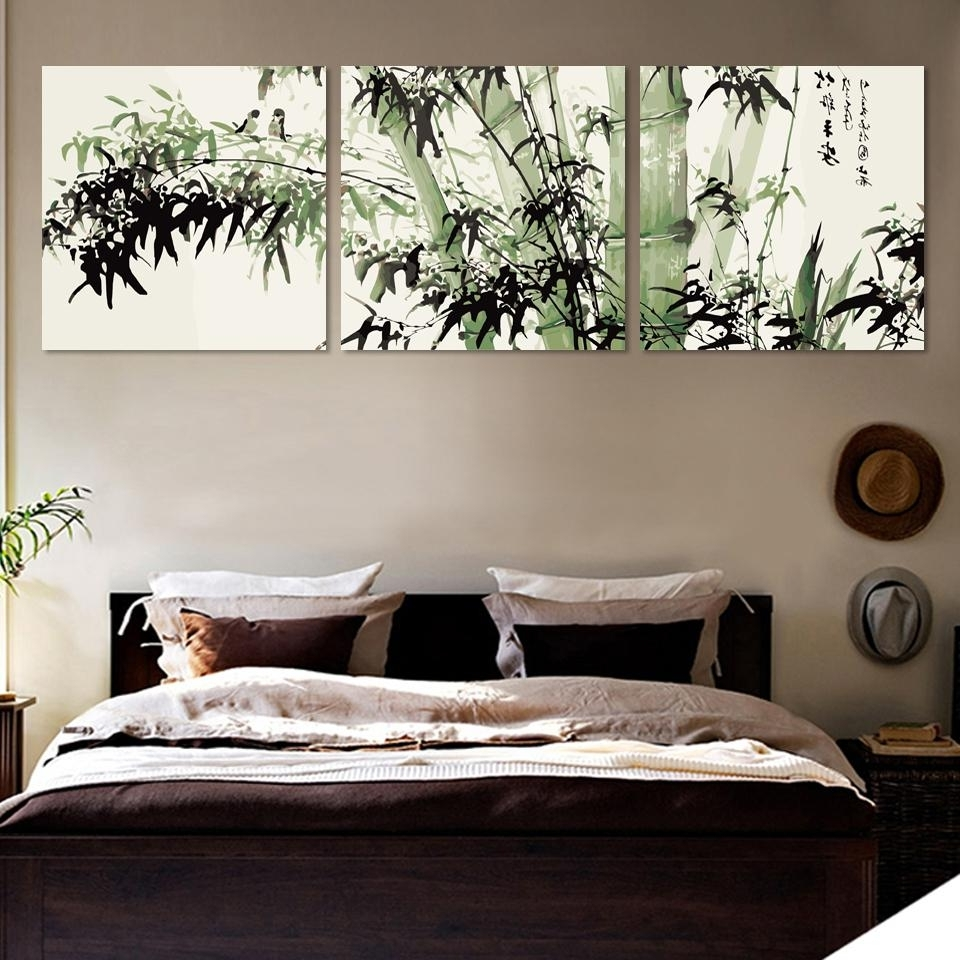 Bamboo Canvas Wall Art Landscape Painting 3 Pieces Large Bamboo Wall With Most Current Bamboo Wall Art (View 4 of 20)