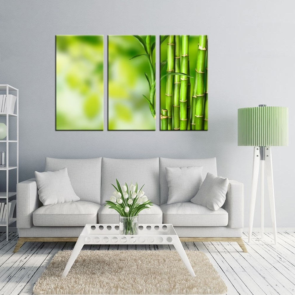 Bamboo Wall Art Pertaining To Widely Used Wall Art For Home Decoration Green Bamboo Pictures Prints Modern (View 10 of 20)