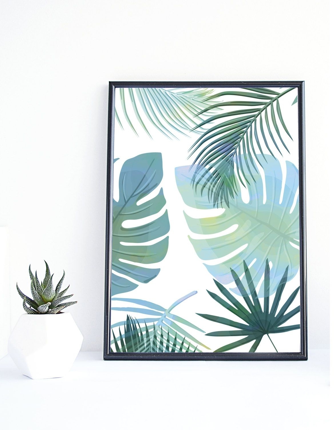 Banana Leaf Print, Tropical Art,instant Download, Palm Print Within Current Tropical Wall Art (Gallery 8 of 20)