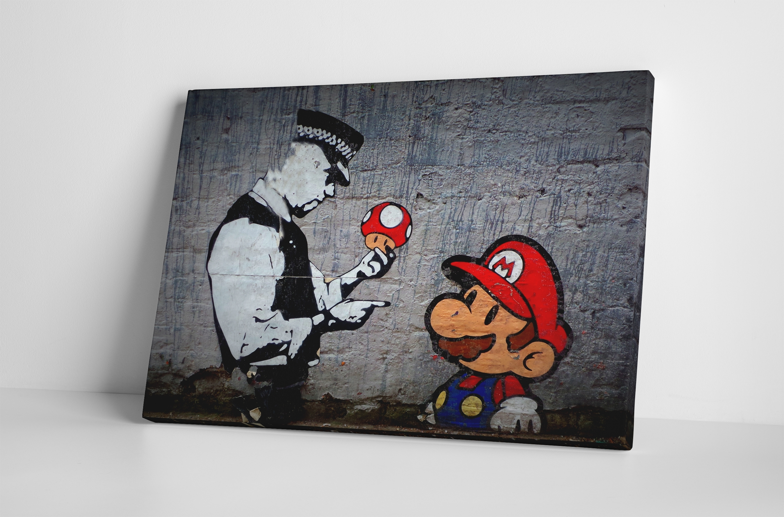 Banksy Mario Bros Mushroom Stretched Canvas Wall Art Throughout 2017 Canvas Wall Art (View 15 of 15)