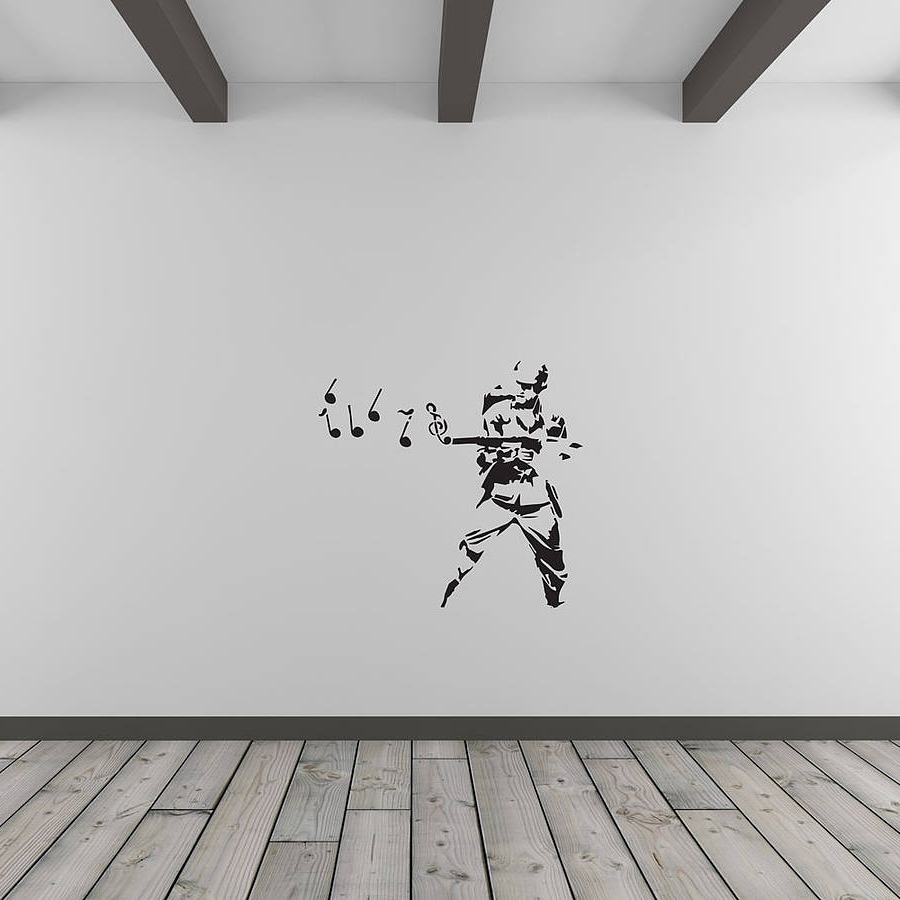 Banksy Musical Soldier Vinyl Wall Art Decalvinyl Revolution With Regard To Most Up To Date Music Wall Art (View 3 of 15)