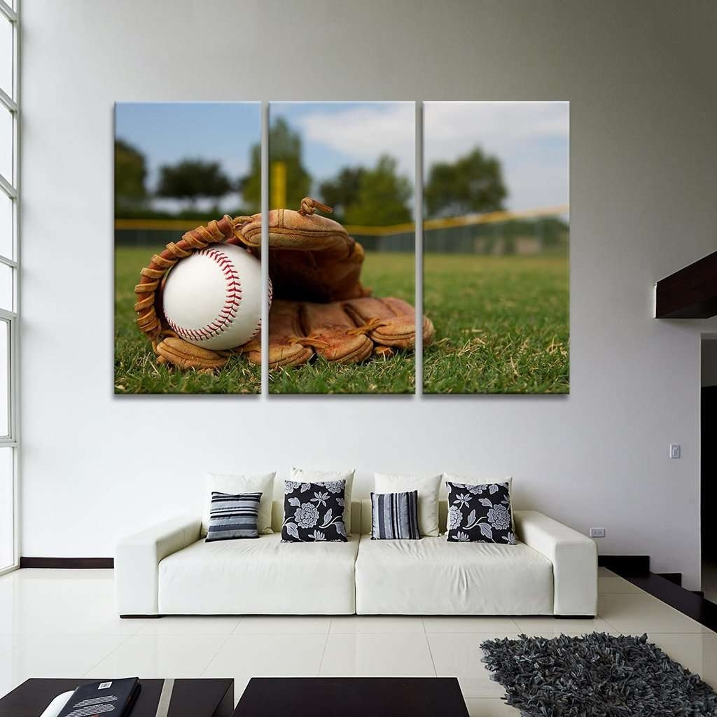 Baseball Wall Art Intended For Well Known Ball In Baseball Glove Wall Art Multi Panel Canvas – Mighty Paintings (View 4 of 20)