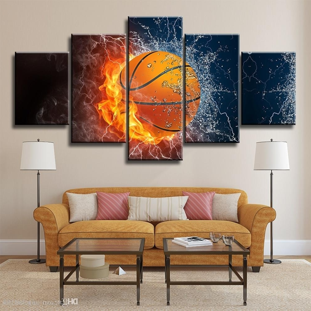 Basketball Wall Art Intended For Trendy 2018 Fired Basketball Unframed Wall Art Oil Painting On Canvas (View 2 of 15)
