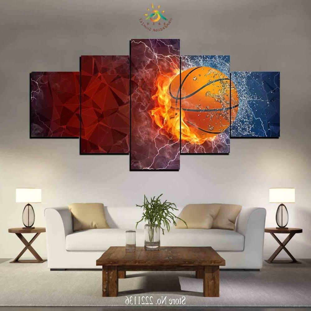 Basketball Wall Art Within Most Recent 3 4 5 Pieces Water And Fire Basketball Modern Wall Art Canvas (View 13 of 15)