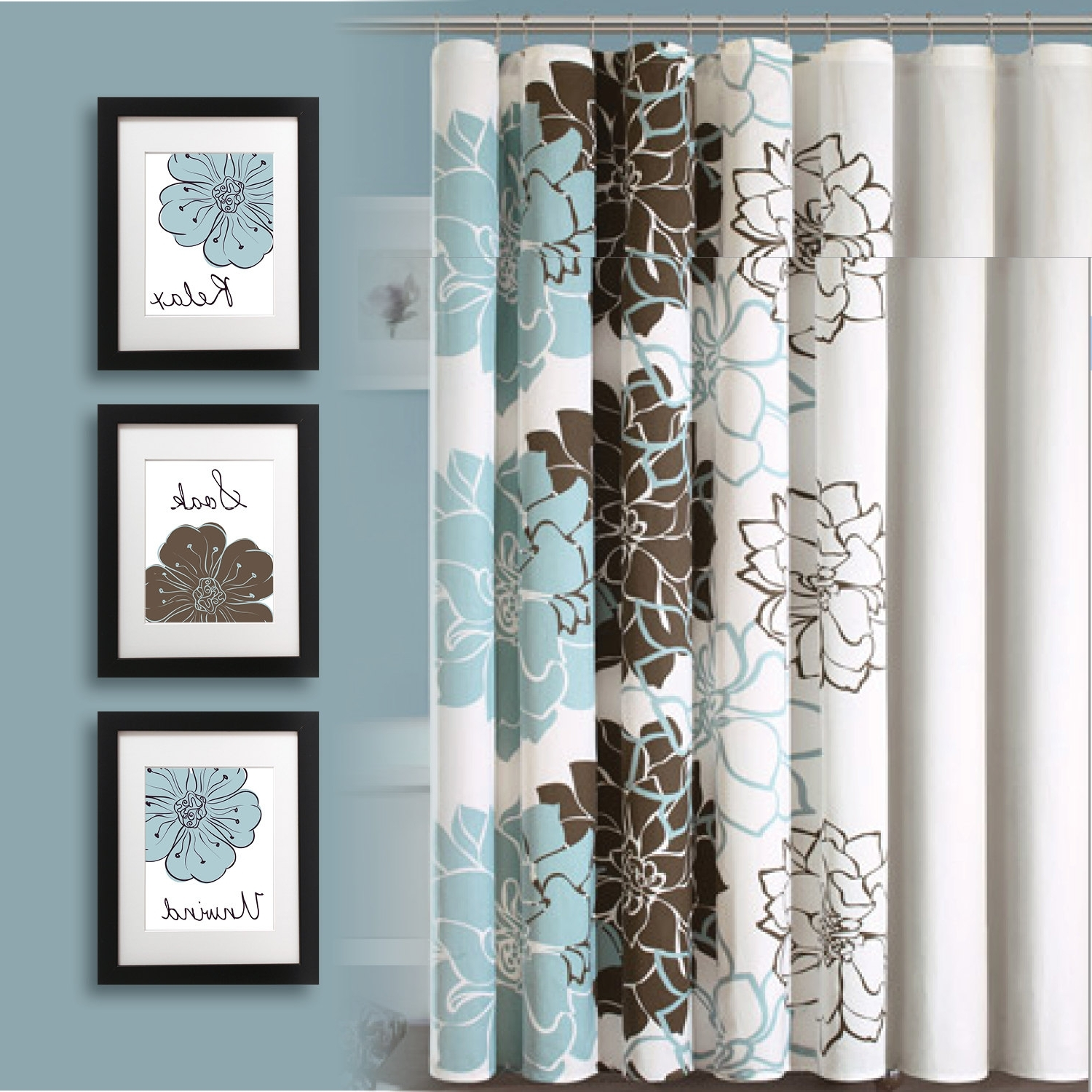 Bathroom Ideas : Blue And Brown Floral Print Bathroom Curtain Square In Well Known Bathroom Wall Art Decors (Gallery 14 of 15)