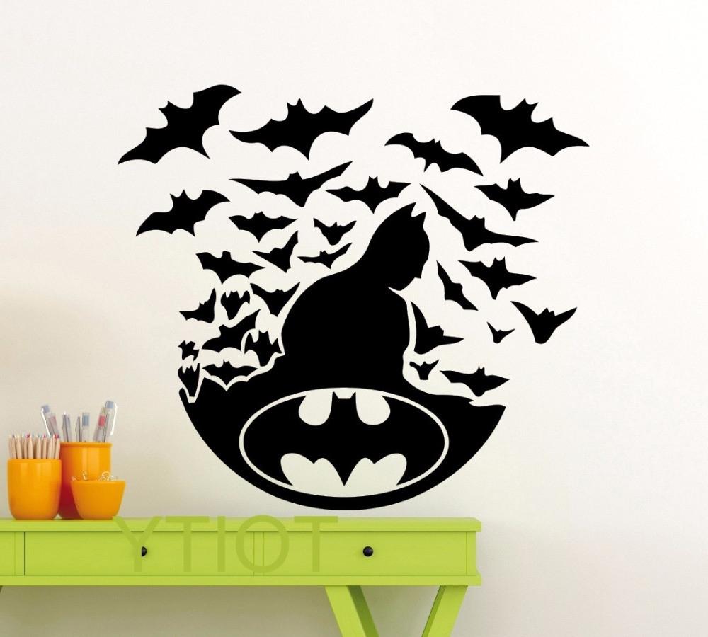 Batman Poster Black Wall Art Sticker Dark Knight Superhero Dc Marvel Pertaining To Preferred Batman Wall Art (View 13 of 20)