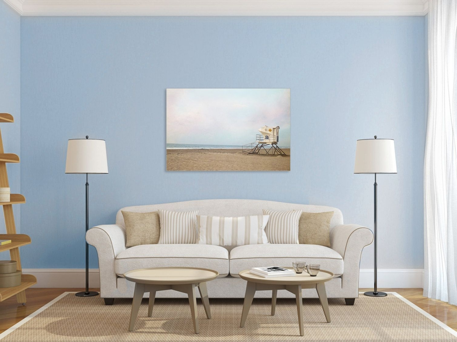 Beach Photography Canvas Print Lifeguard Stand Gallery Wrap, Pastel Regarding Trendy Large Coastal Wall Art (View 20 of 20)