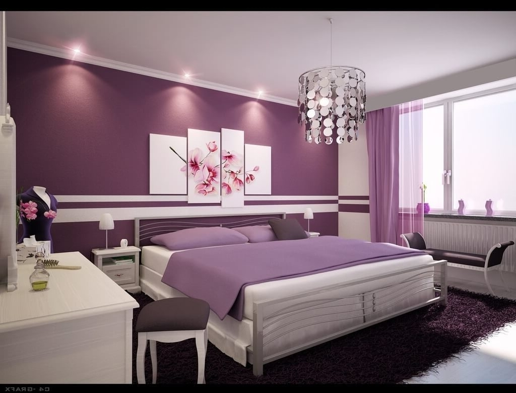 Bedroom Design: Stylish Purple Bedroom Design Ideas With Decorative Inside Widely Used Purple And Grey Wall Art (View 4 of 20)