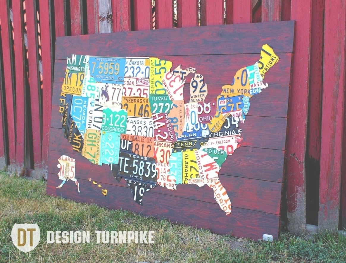 Best And Newest 45 Ideas Of License Plate Map Wall Art Noticeable Us Made Plates Regarding License Plate Map Wall Art (View 2 of 20)
