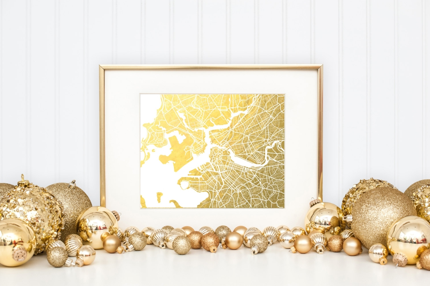 Best And Newest Boston Map Gold Foil Print Boston Wall Art Gold Foil Map, Gold Wall With Regard To Gold Foil Wall Art (View 15 of 20)