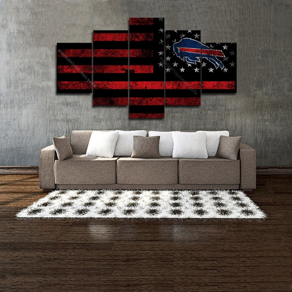 Best And Newest Buffalo Bills Wall Art Vintage American Flag Canvas 5 Piece Football With Vintage American Flag Wall Art (Gallery 3 of 20)