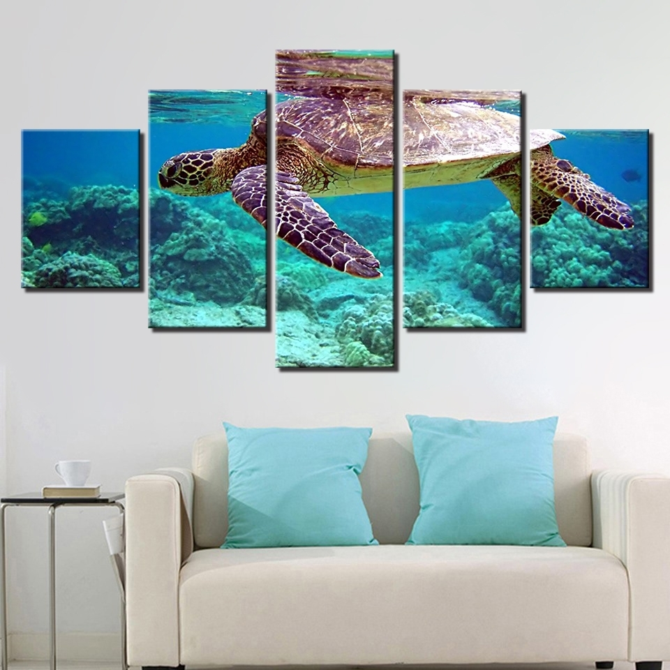 Best And Newest Canvas Pictures Wall Art Framework 5 Pieces Blue Deep Sea Turtle Regarding Sea Turtle Canvas Wall Art (View 3 of 20)