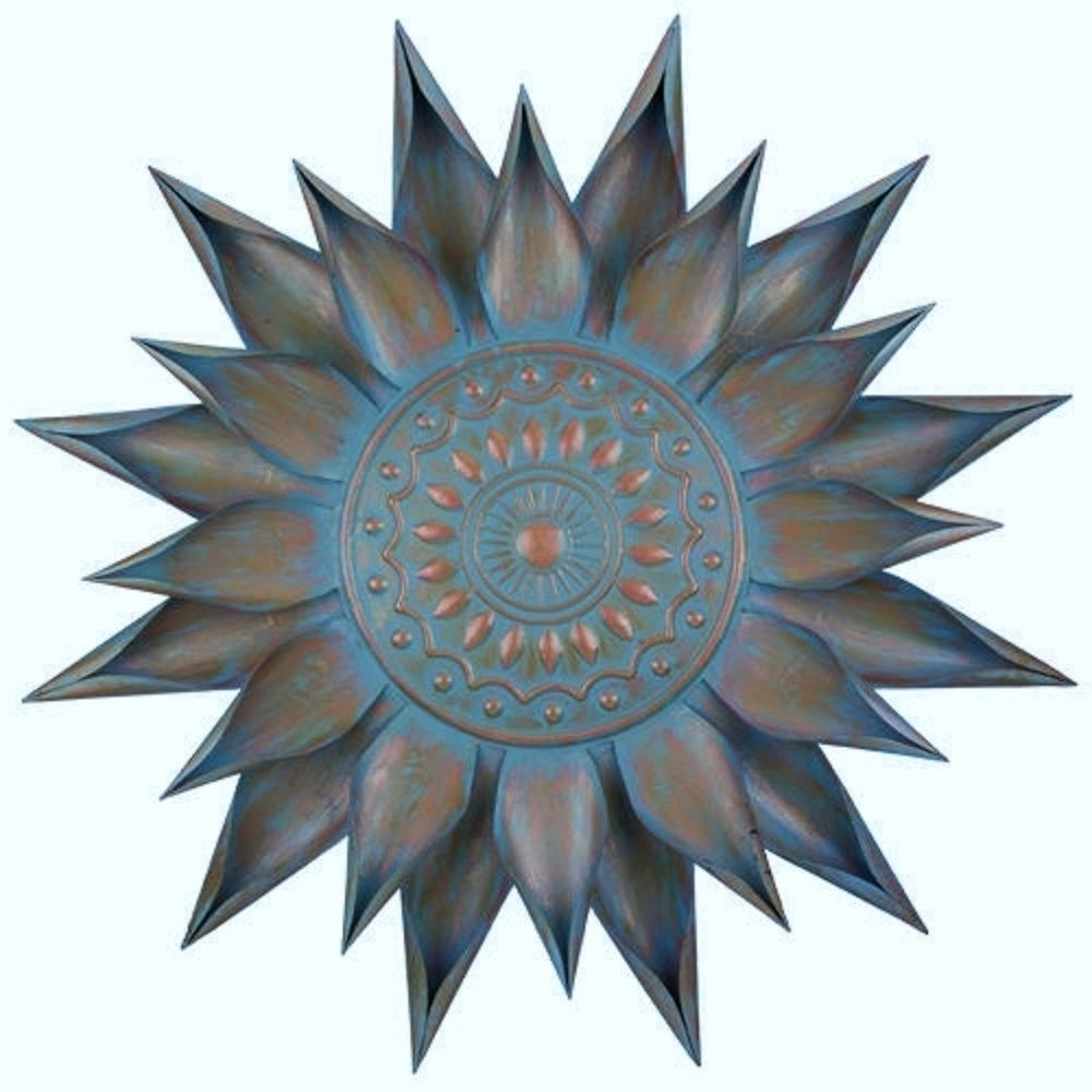 Best And Newest Copper Turquoise Giant Flower Bloom Wall Art Decor Metal Sun Burst For Copper Wall Art (Gallery 12 of 15)