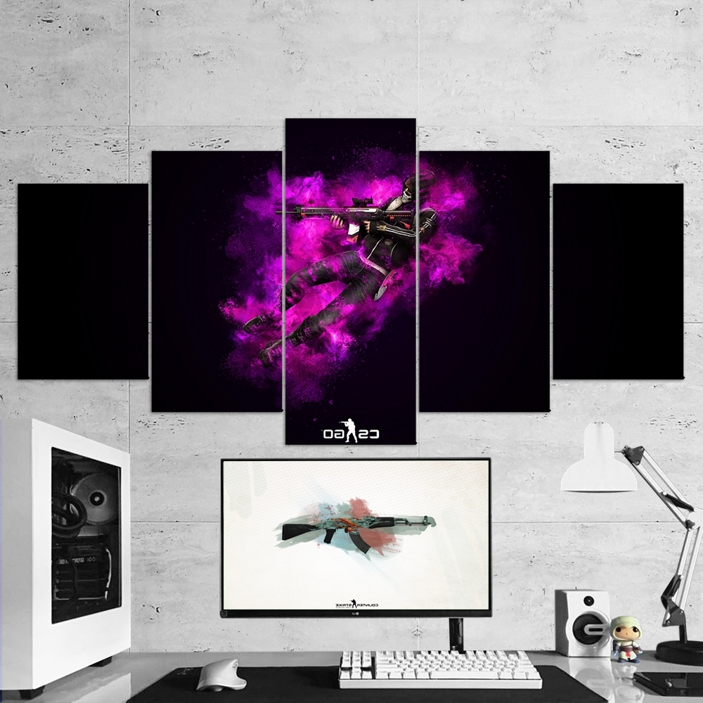 Best And Newest Cs:go Counter Strike: Global Offensive 13 – 5 Piece Canvas Wall Art Inside 5 Piece Canvas Wall Art (View 9 of 20)