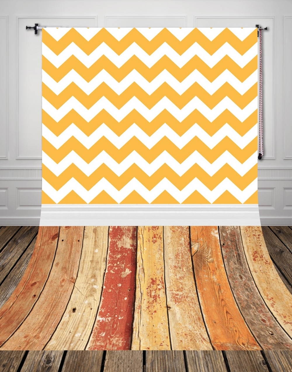 Best And Newest Huayi Vintage Wood Floor Backdrop Vintage Yellow Chevron Wall Art Inside Chevron Wall Art (View 3 of 20)