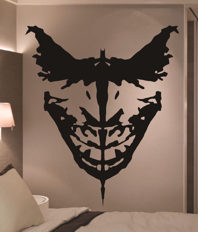 Best And Newest Joker Wall Art With Giant Batman & Joker Ink Blot Comic Vinyl Wall Art Sticker Home (View 10 of 20)