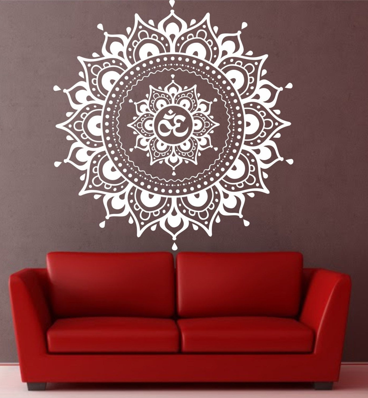 Best And Newest Mandala Wall Art With Mandala Wall Decal Mandala Decal Yoga Om Namaste Yoga Decor Wall (View 18 of 20)