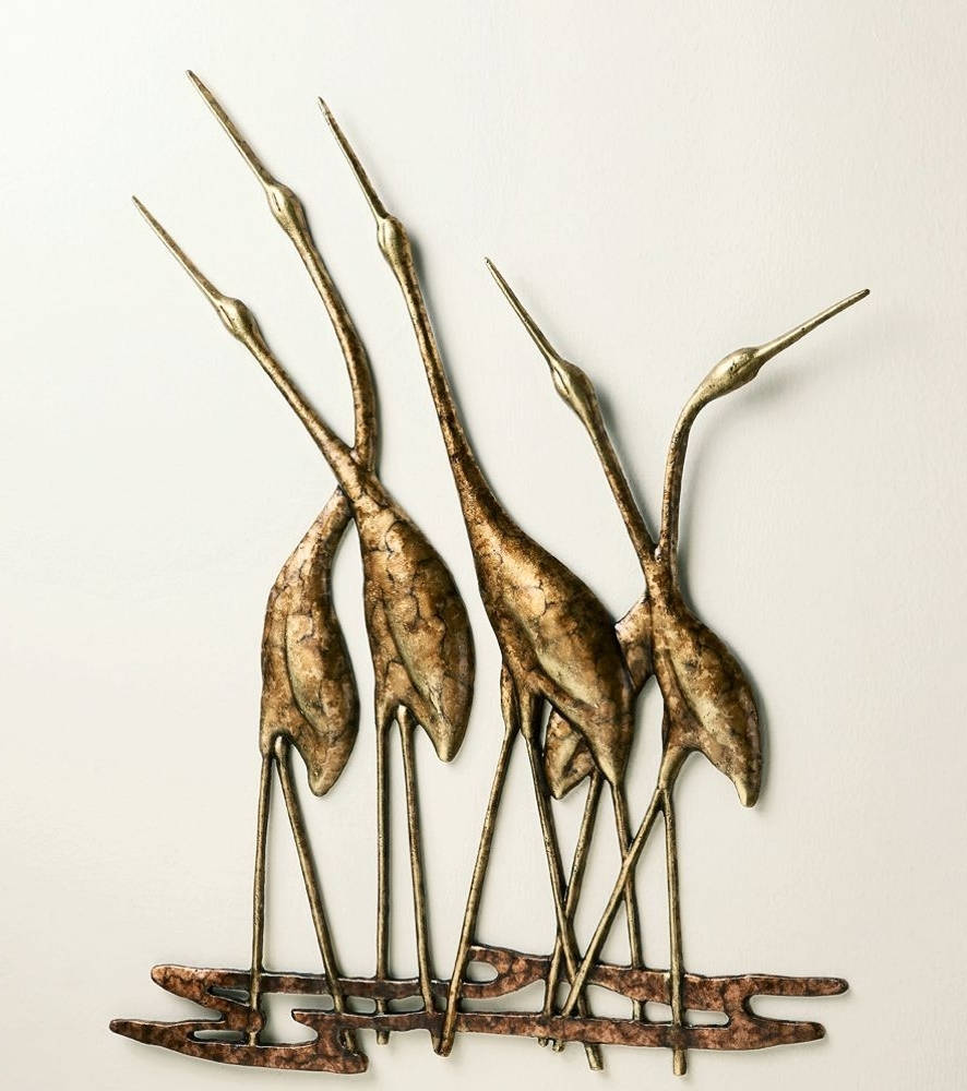Best And Newest Metal Wall Art Sculptures Pertaining To Crane Quintet Wall Art Sculpture Metal Heron Bird Gold & Bronze (View 3 of 15)