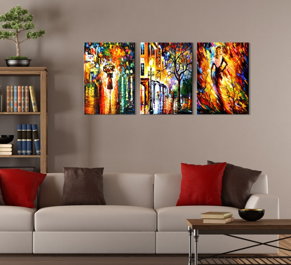 Best And Newest Multi Piece Wall Art With Regard To Wall Art Ideas Design : Colorful Abstract Three Piece Wall, Multi (View 3 of 20)