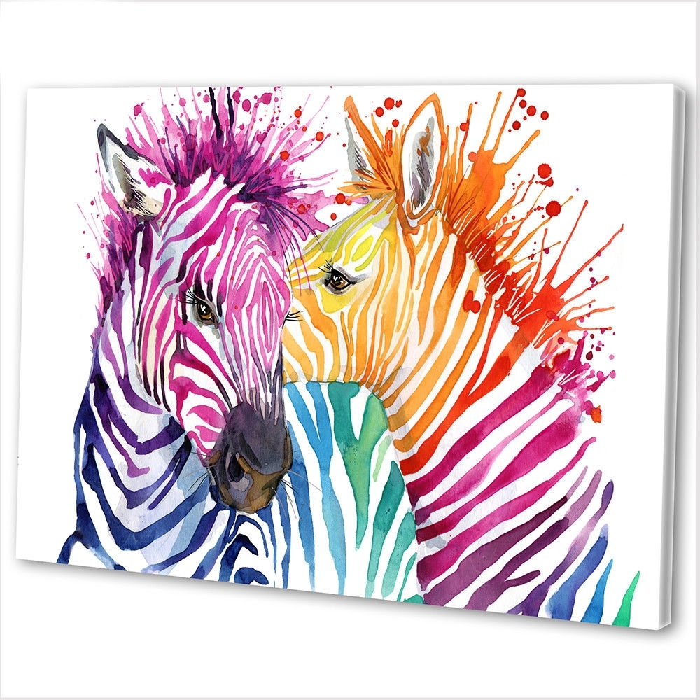 Best And Newest Multicoloured Zebra Abstract Canvas Print Framed Animal Wall Art With Regard To Zebra Canvas Wall Art (View 3 of 20)