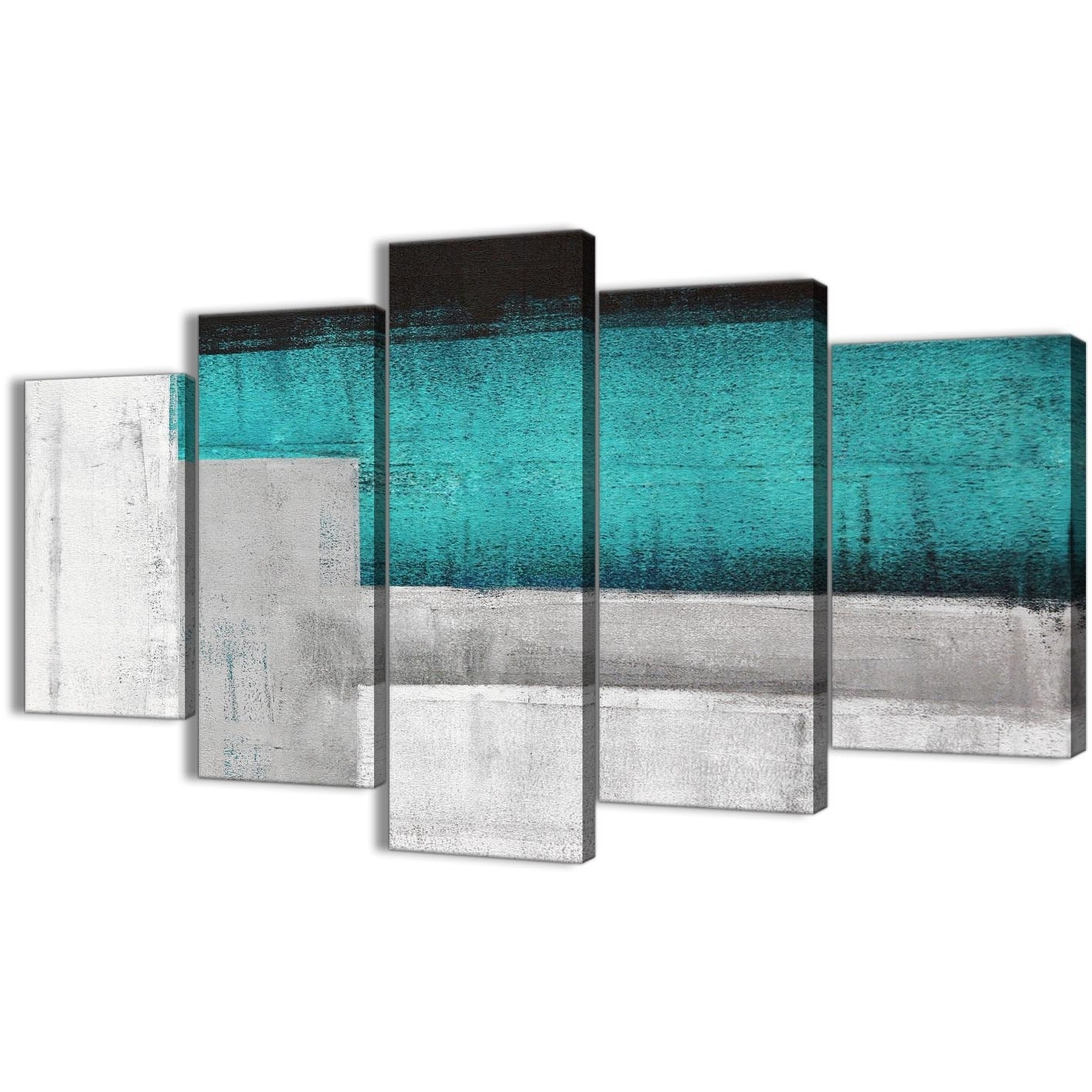 Best And Newest Oversized Teal Canvas Wall Art Inside 5 Panel Teal Turquoise Grey Painting Abstract Office Canvas Wall Art (Gallery 15 of 20)