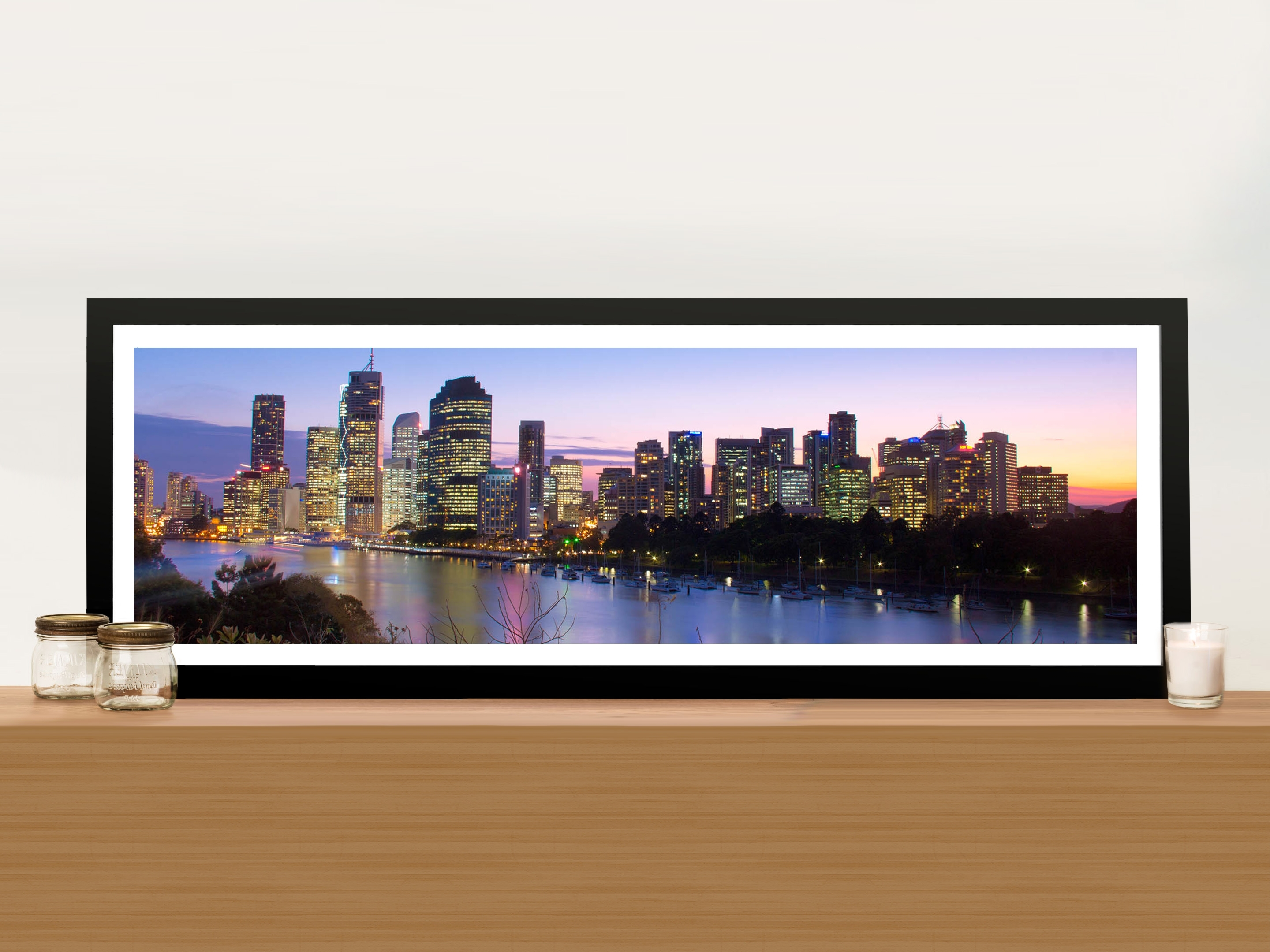 Best And Newest Panoramic Wall Art Pertaining To Brisbane Skyline In Panoramic View Picture Art Print On Canvas (Gallery 6 of 15)