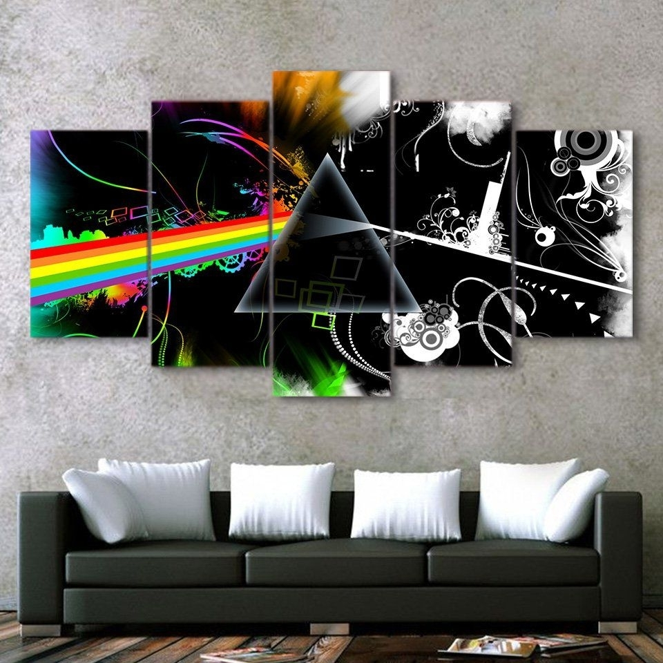 Best And Newest Pink Floyd The Wall Art Pertaining To Pink Floyd Music Band Canvas Hd Wall Decor 5Pc Framed Oil Painting (Gallery 14 of 20)