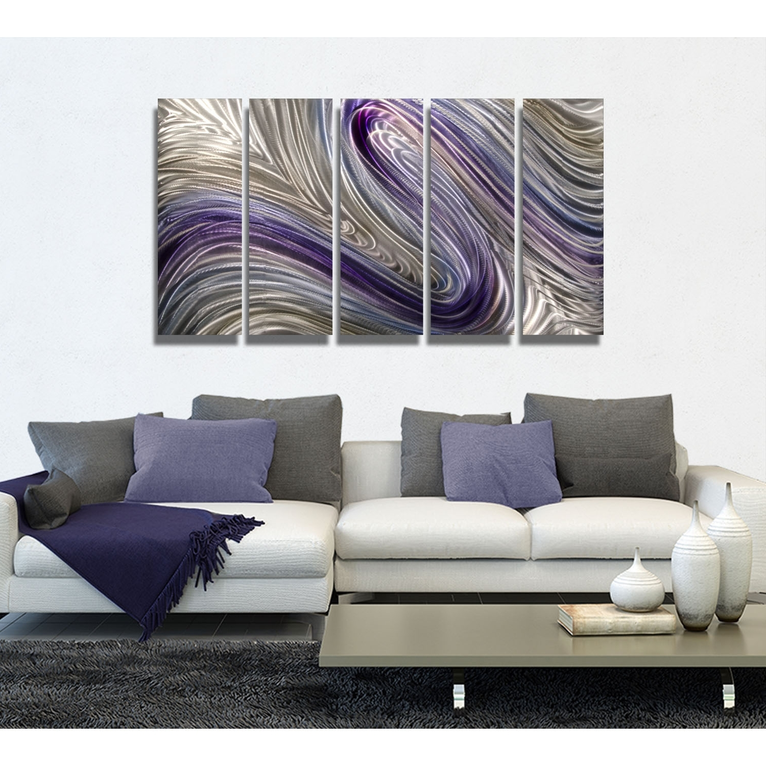 Best And Newest Reverie – Purple, Silver And Gold Metal Wall Art – 5 Panel Wall With Regard To Purple And Grey Wall Art (View 5 of 20)