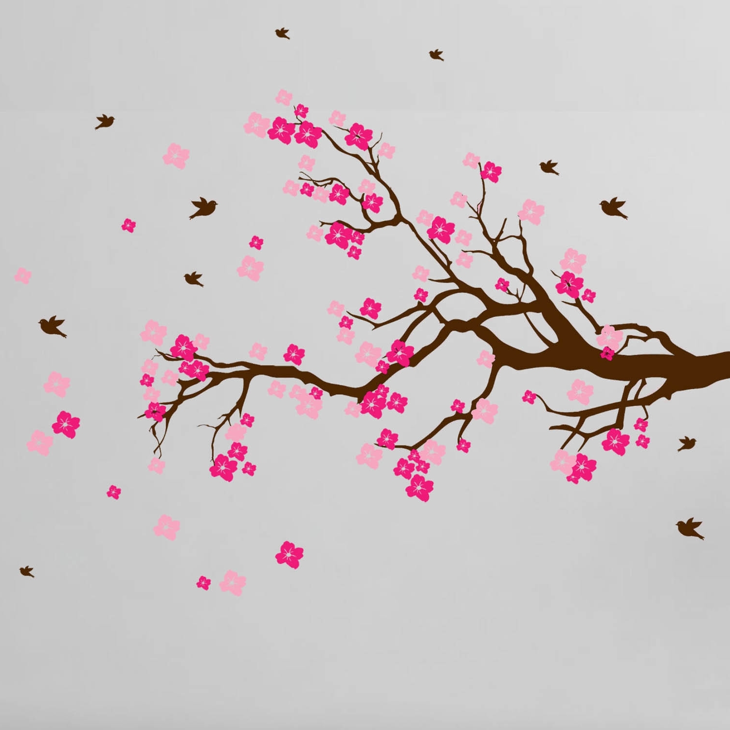 Best And Newest Shop Cherry Blossom Branch With Birds Vinyl Wall Art Decal – Free With Regard To Cherry Blossom Wall Art (View 1 of 20)