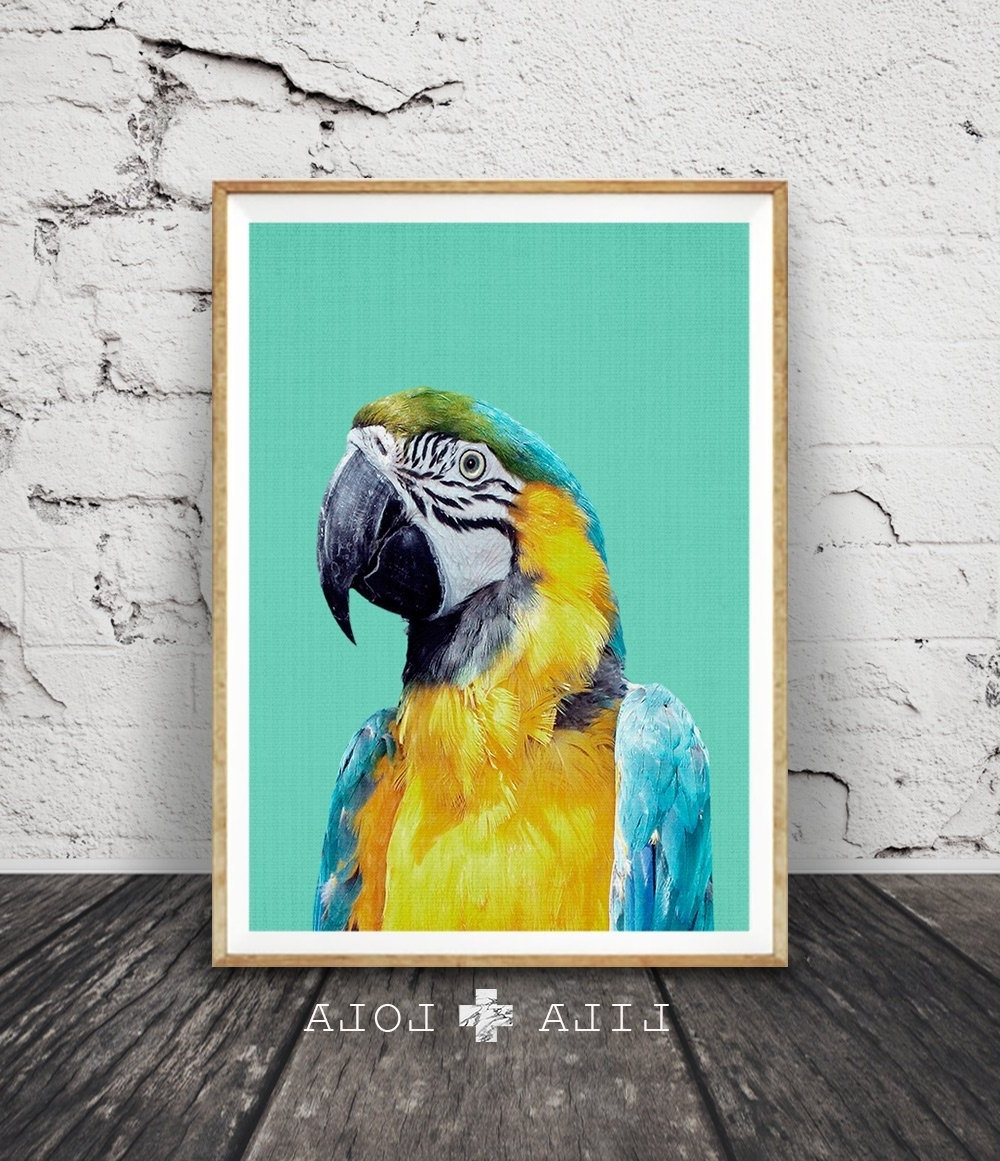 Best And Newest Tropical Wall Art For Tropical Bird Print, Parrot Wall Art, Bird Photography, Macaw Parrot (Gallery 13 of 20)