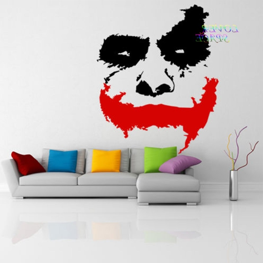 Best And Newest Vinyl Wall Decal Scary Joker Face Movie Batman The Dark Knight With Joker Wall Art (View 7 of 20)