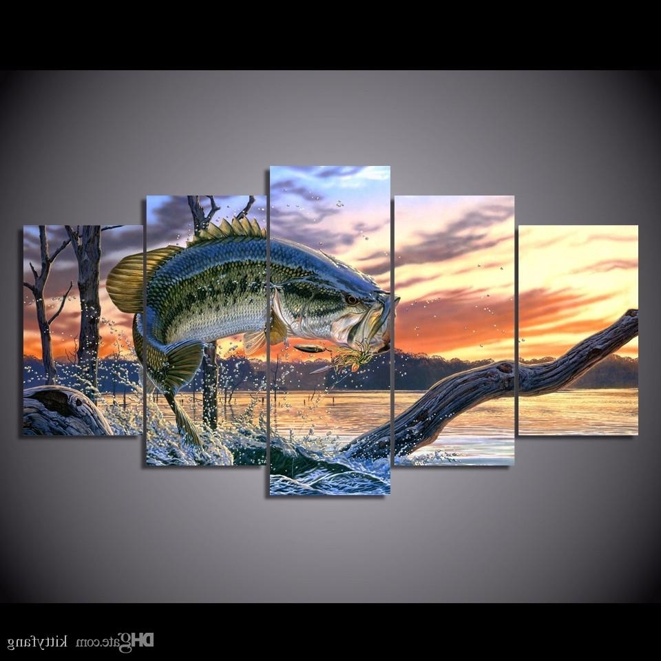 Best Quality Framed Hd Printed Bass Jumping Fish Sunset Picture Wall With Regard To Fashionable Fish Painting Wall Art (Gallery 1 of 20)