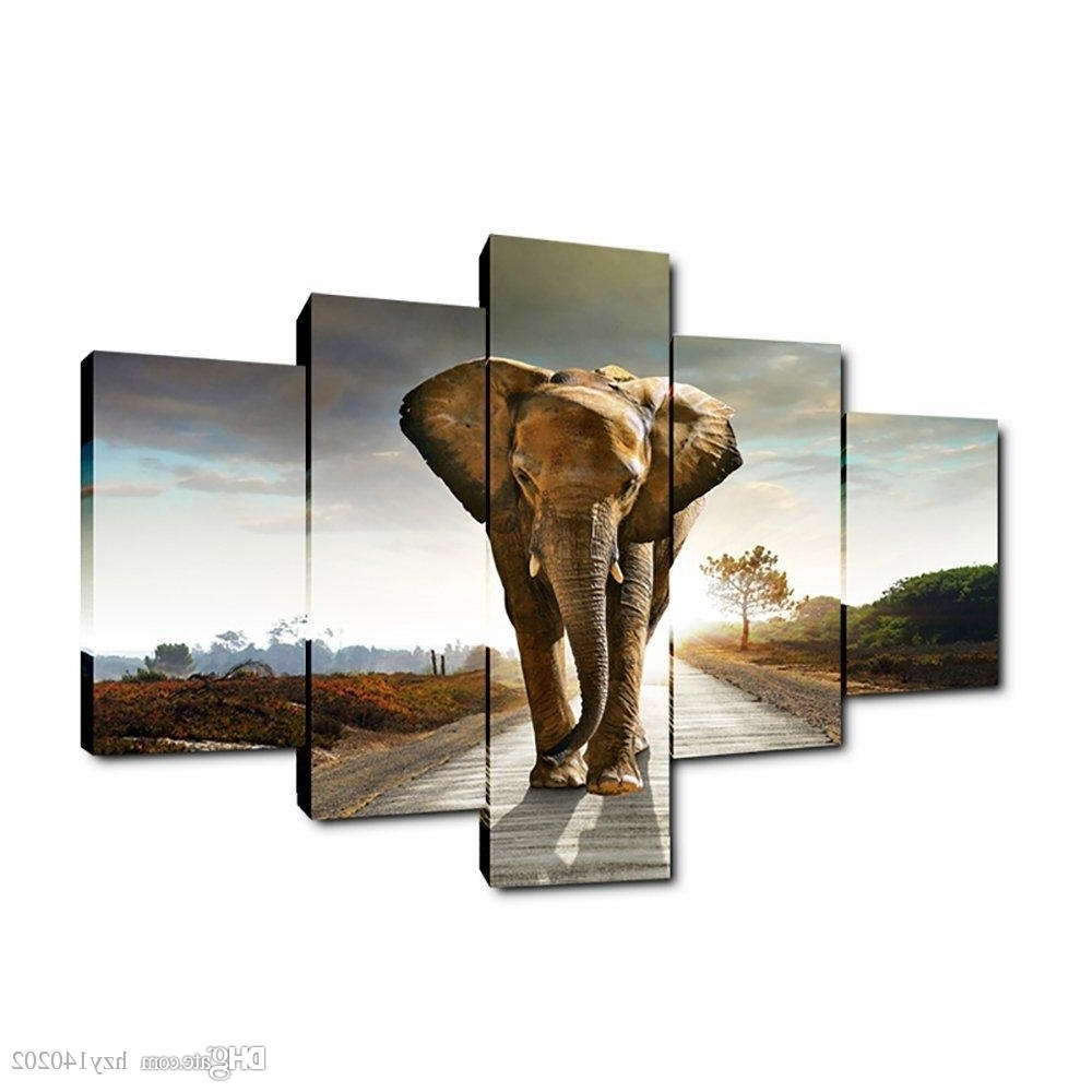 Best Yijiahe Dw5 Canvas Painting Art Elephant Wall Art Pictures Inside Best And Newest Elephant Wall Art (Gallery 4 of 15)