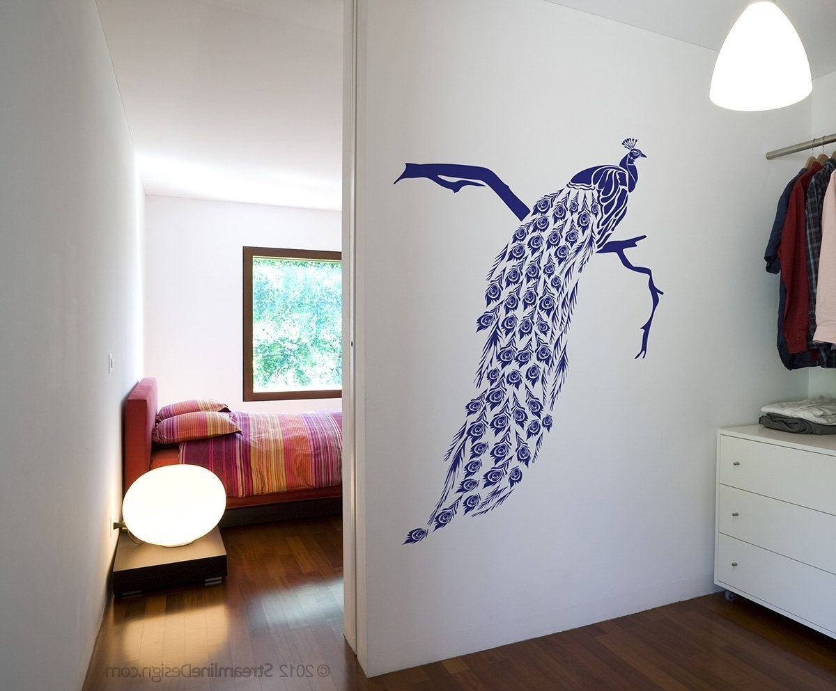 Big Beautiful Peacock Removable Vinyl Wall Art Decor, Japanese With Most Recent Peacock Wall Art (Gallery 9 of 15)