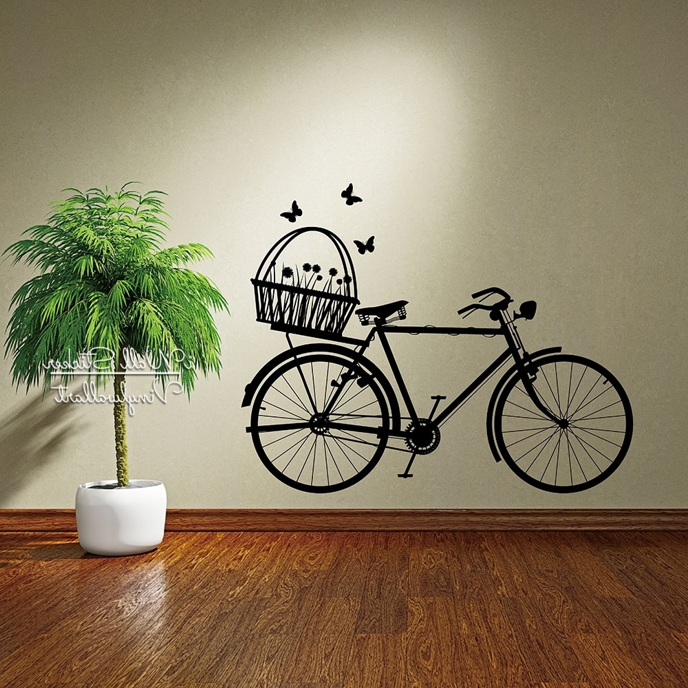 Bike Wall Sticker Modern Bike Flowers Wall Decal Diy Easy Wall Art Intended For Fashionable Bicycle Wall Art (View 10 of 20)