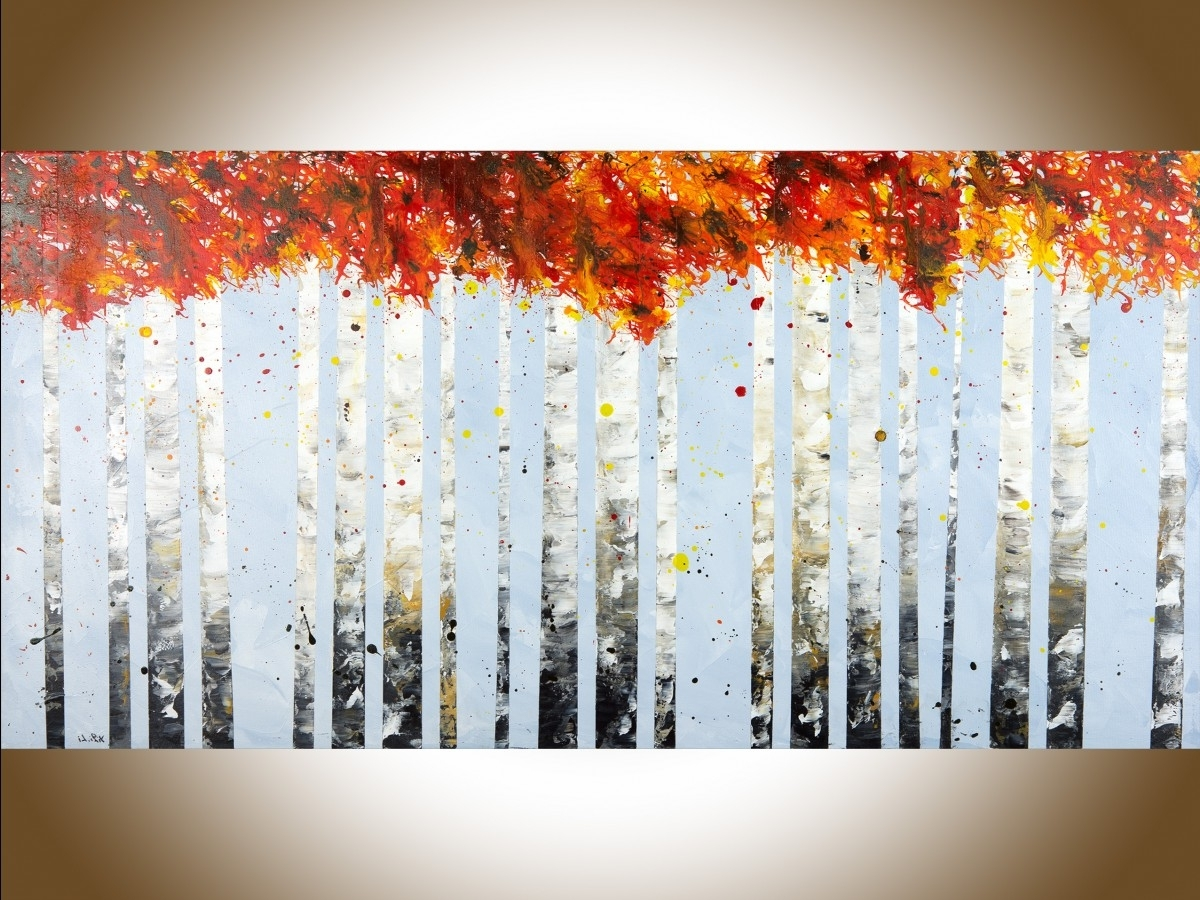 "Birch Tree Wall Art Within Most Recent Autumn Birch Treesqiqigallery 48"" X 24"" Large Wall Art Birch (View 20 of 20)"