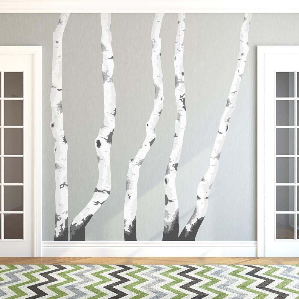 Birch Tree Winter Forest Vinyl Wall Decal – Gabc Inside Most Recent Birch Tree Wall Art (View 8 of 20)
