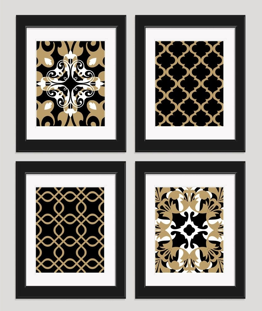 Black And Gold Wall Art For Trendy Black White Gold Art Black Gold Wall Art Set Of 4Inkandnectar (View 2 of 20)