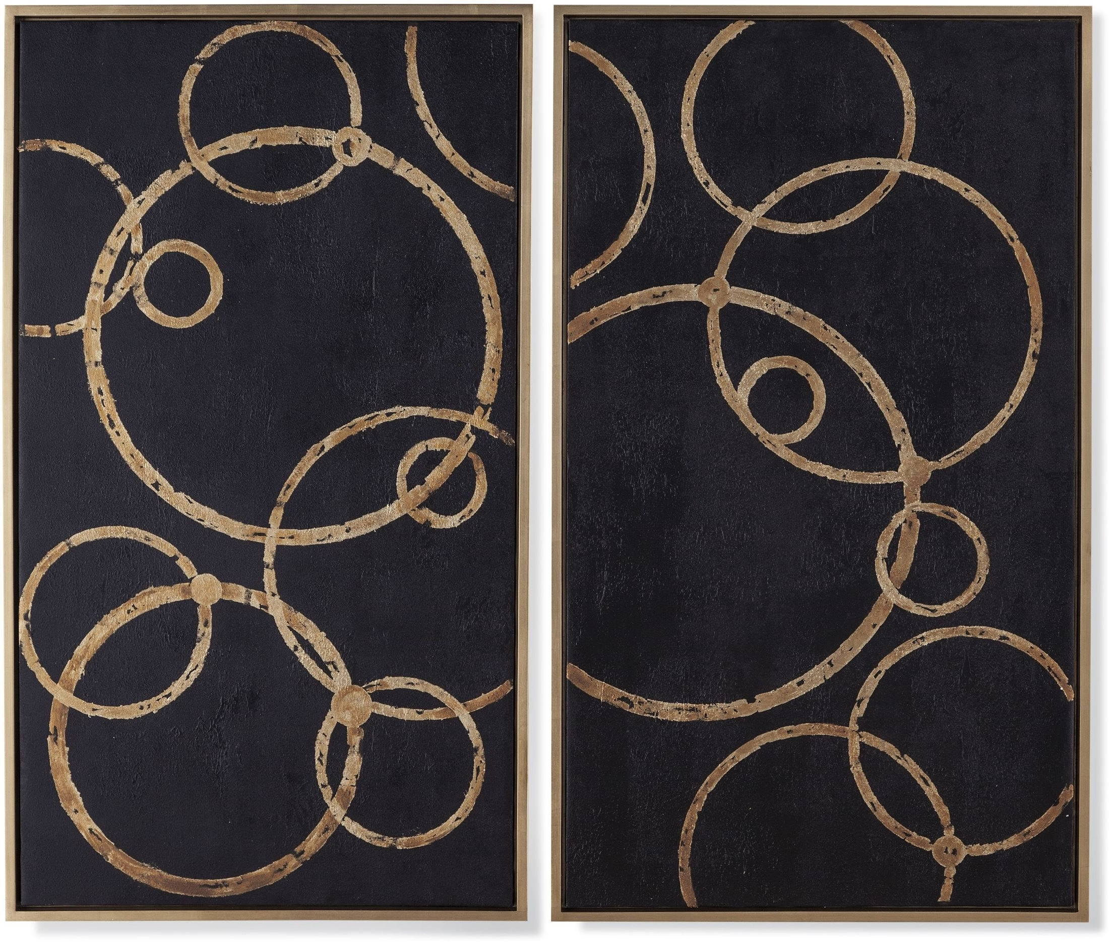 Black And Gold Wall Art With Most Current Bassett Mirror Company Boho Black And Gold Circles Wall Art Set Of (View 13 of 20)