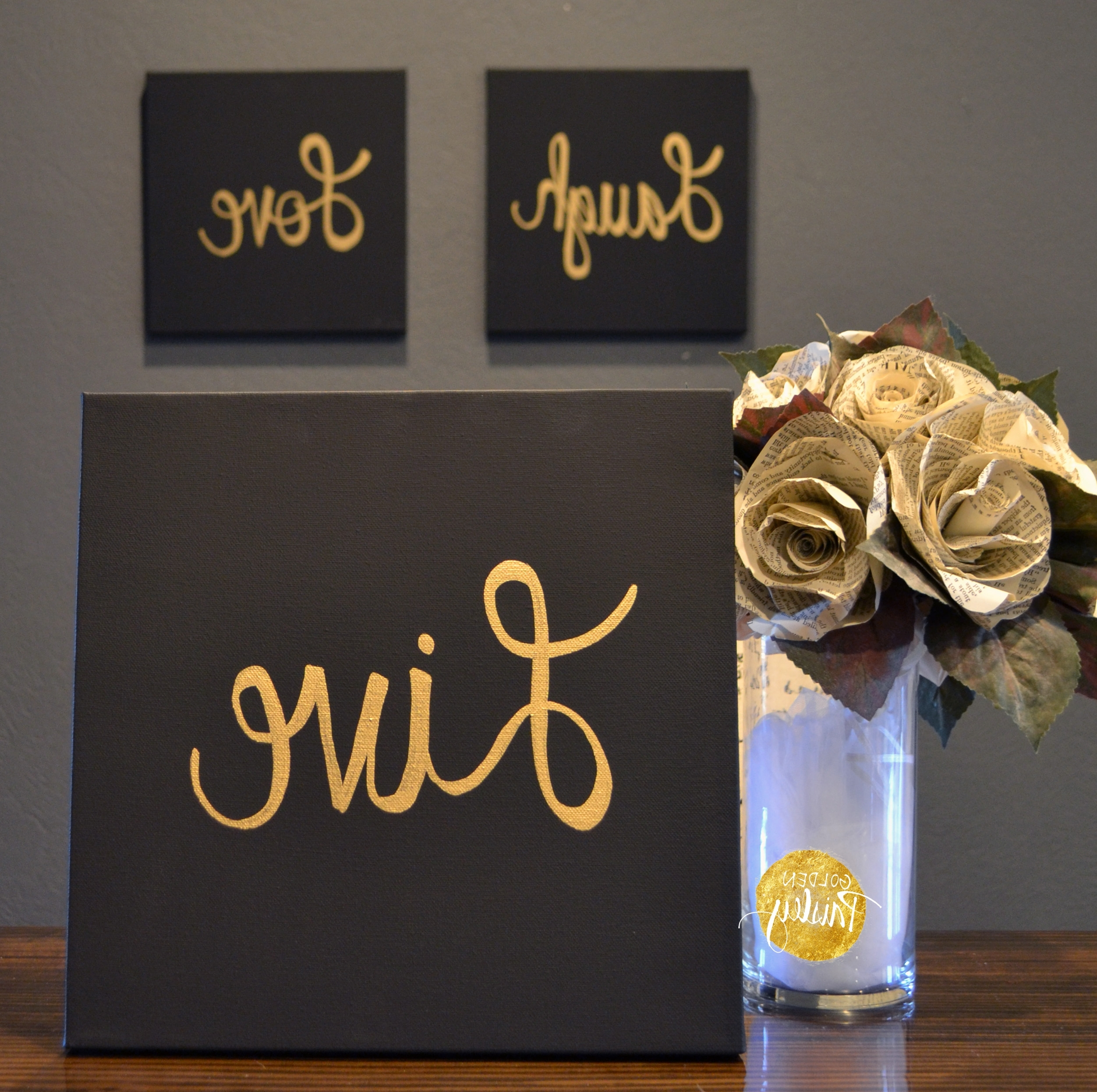 Black And Gold Wall Art With Regard To Best And Newest Live Laugh Love Black & Gold 3 Piece Wall Decor Set (View 7 of 20)