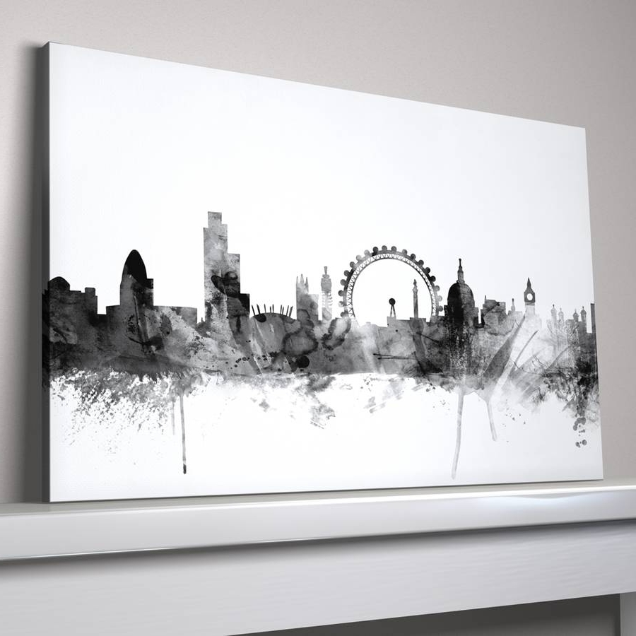 Black And White Large Canvas Wall Art Pertaining To Most Up To Date London Skyline Cityscape Black And Whiteartpause (View 4 of 20)