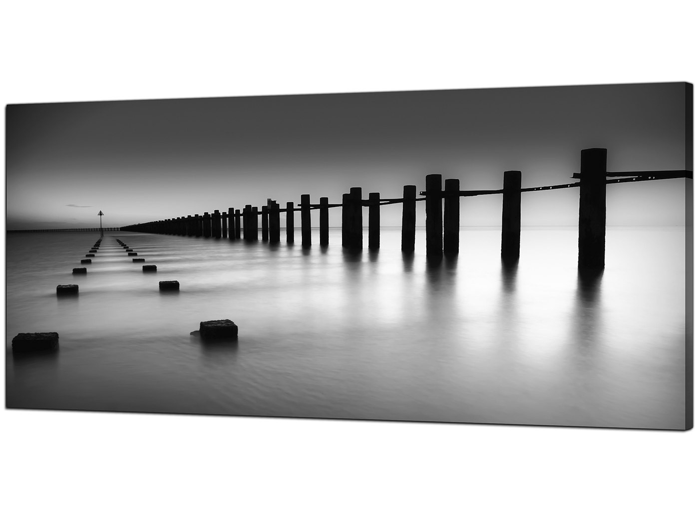 Black And White Large Canvas Wall Art With Regard To Best And Newest Modern Black And White Canvas Art Of The Sea (View 7 of 20)