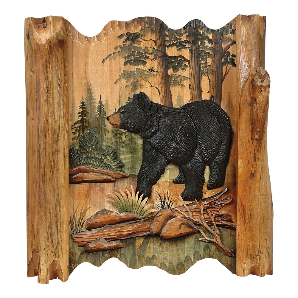 Black Bear Forest Carved Wood Lodge Wall Art – Lodge Decor – Walmart Inside Trendy Carved Wood Wall Art (Gallery 9 of 15)