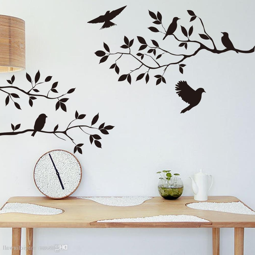 Black Bird And Tree Branch Leaves Wall Sticker Decal Removable Birds With Regard To Famous Wall Tree Art (Gallery 5 of 20)