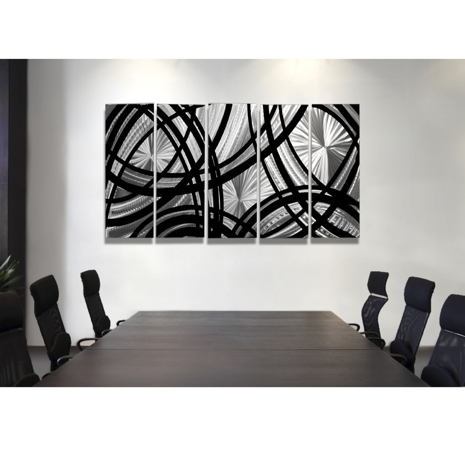 Black Metal Wall Art For Favorite Frequency One – Black And Silver Metal Wall Art – 5 Panel Wall Décor (View 3 of 20)