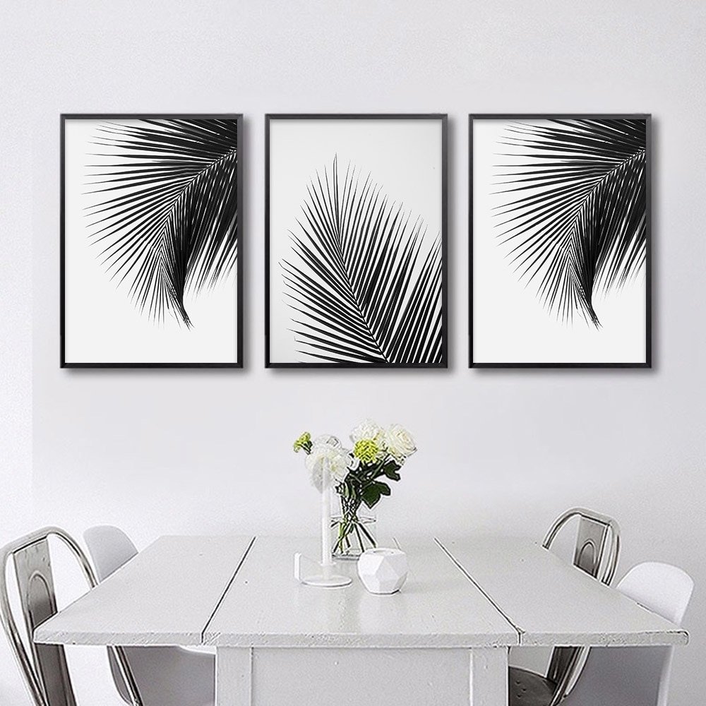Black White Palm Tree Leaves Canvas Posters And Prints Minimalist Within Popular White Wall Art (View 5 of 20)