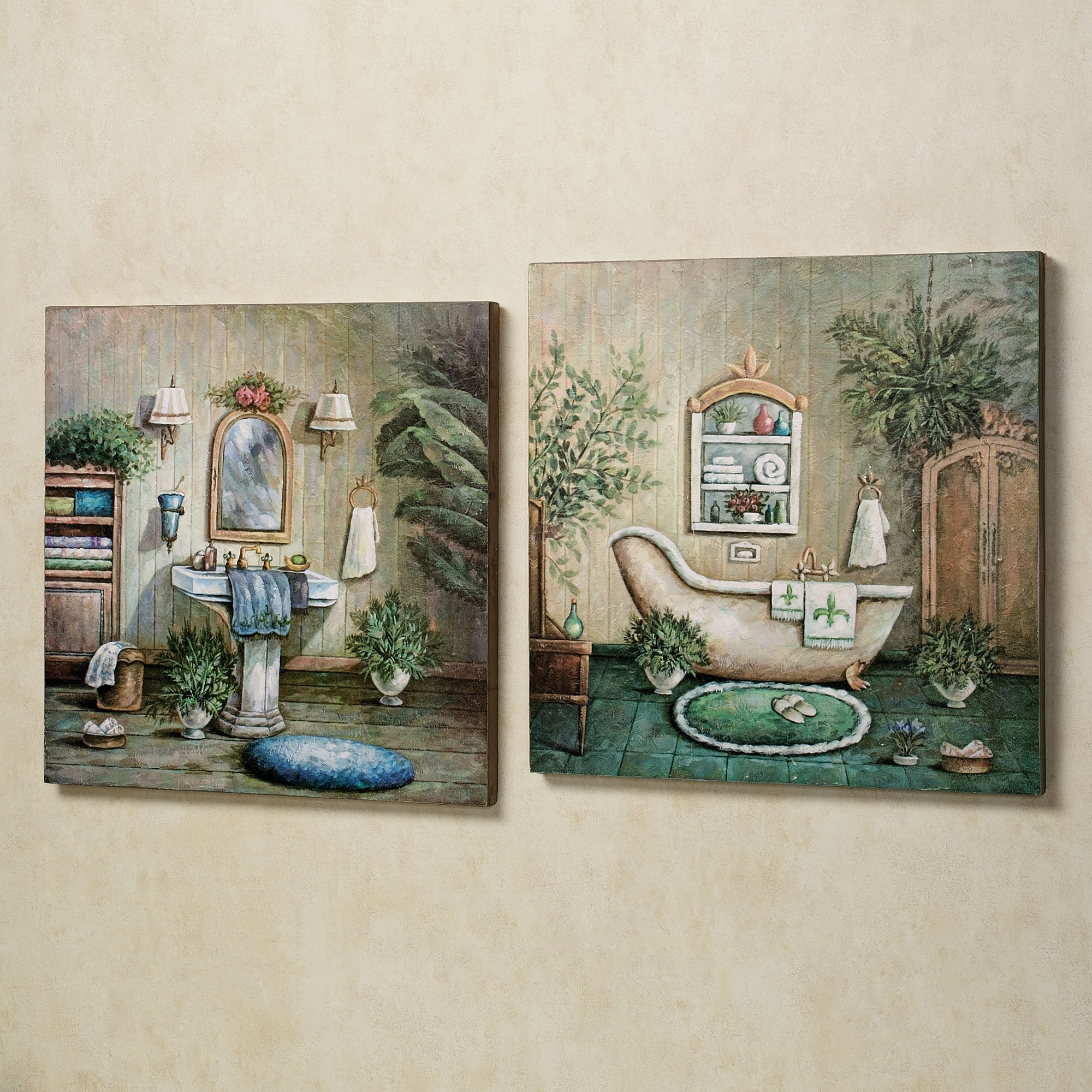 Blissful Bath Wooden Wall Art Plaque Set Scheme Of Walmart Wall Inside Latest Walmart Wall Art (View 4 of 20)