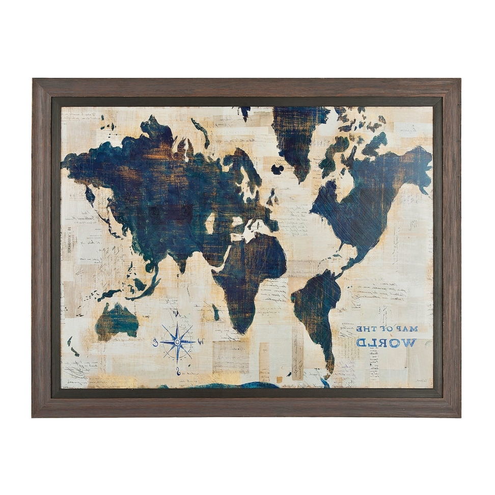 Blue And Cream World Map Framed Art Print Frame Wall Decor Within Inside Preferred World Map Wall Art Framed (View 4 of 20)