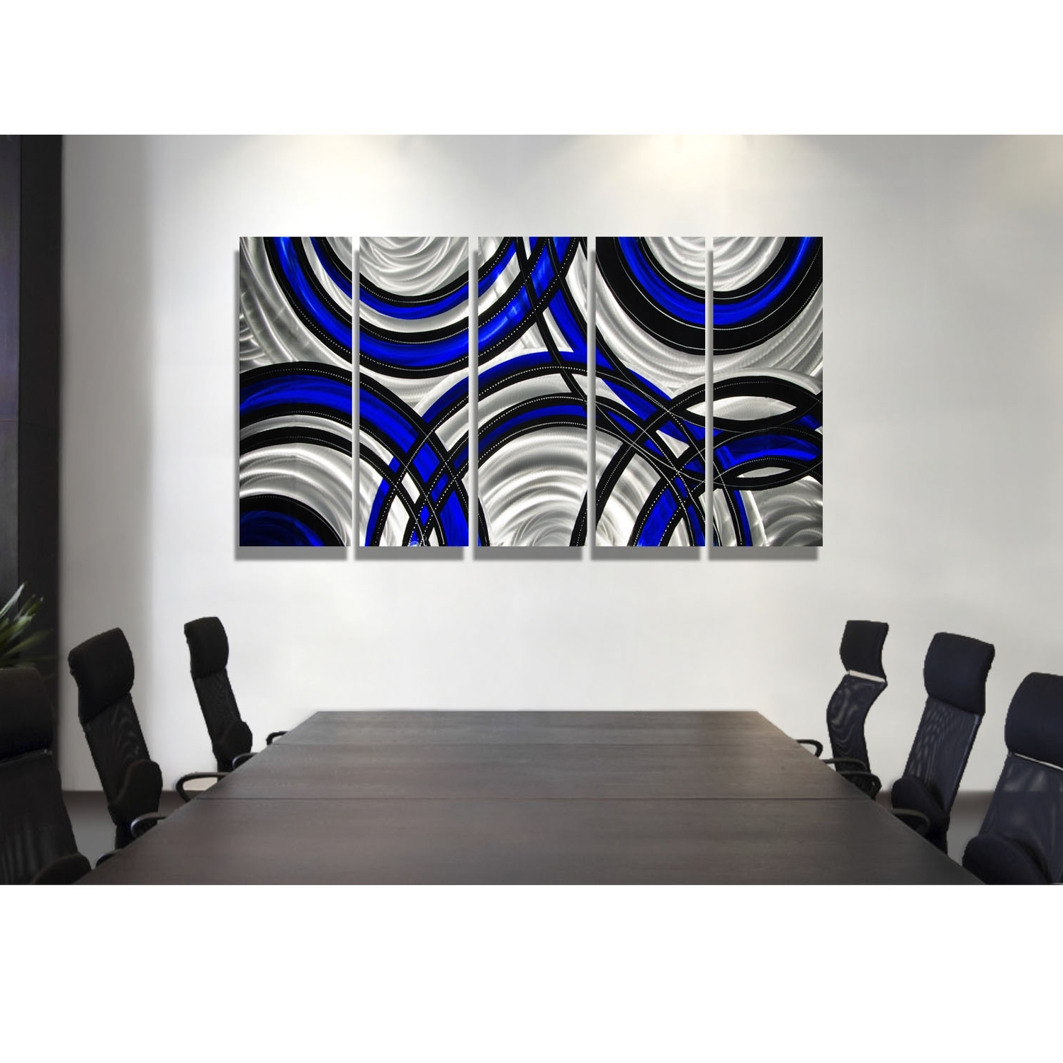 Blue Synergy – Blue, Black And Silver Metal Wall Art – 5 Panel Wall With Most Recent Black Wall Art (Gallery 9 of 20)